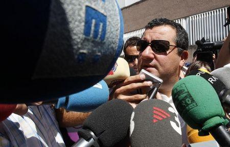 Raiola, agent of Barcelona's player Ibrahimovic, speaks to the media as he arrives at FC Barcelona's office in Barcelona