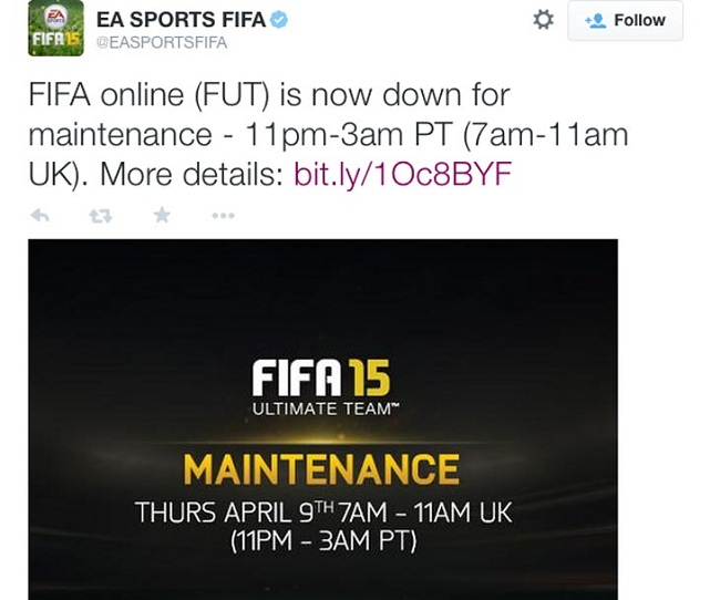 FIFA 15: servers down for maintenance yesterday